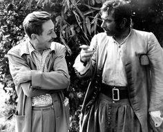 walt in england with actor robert newton who played long John silver in treasure island, 1950 Disney Love, Disney Mickey, Walt Disney World, Disney Pixar, Robert Newton, Walter Elias Disney, Vintage Disneyland, Disney Posters, Walt Disney Pictures