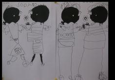Plak de hoofdjes van Jip en Janneke open laat de kinderen zelf de lijfjes erbij tekenen Kids Corner, Held, 4 Kids, Schmidt, Puppets, Art Lessons, Arts And Crafts, Snoopy, Africa