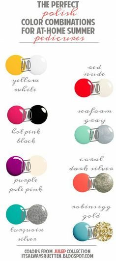 Nail polish pairings perfect for summer. Mani pedi inspiration