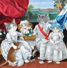Oorspronkelijk: Four Grandchildren of Empress Maria Theresa: Prince Ludwig of Parma and His Sisters Karoline, Marie Antoinette and Charlotte. Geschilderd door: Johann Zoffany