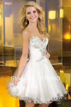 LH0097 White A-Line Sweetheart Sexy Short Mini Homecoming Dresses WIth Crystal 8th Grade Graduation Dress Tulle 2014 $91.30