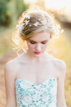 Elegant and Ethereal Bridal Headpiece and Romantic Makeup | Rustic White Photography | http://heyweddinglady.com/colorful-modern-fairy-tale-bridal-shoot/