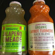 1. Organic carrot juice organic black pepper organic lemon juice organic turmeric organic chili pepper powder  and 2. Organic Jalapeño Limeade scream bring me to you tequila! #TraderJoes