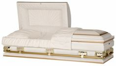 "Steel Casket, 28"" Over-sized Crown, 20 Gauge Steel, White shaded Gold, White Crepe Interior, Sunburst Panel. Also available in 30"", 33"", 36"". Over-sized vault required for 30""+. Price: $1,595.00"