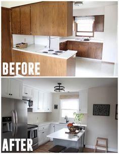 Flip House Kitchen 70's Kitchen, Affordable Kitchen Remodel, Two Tone Kitchen www.BrightGreenDoor.com