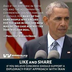 #NoWarWithIran #IBackObama #UniteBlue Nuclear Deal, Republican Party, Barack Obama, In A Heartbeat, Presidents, Believe, Ads, Iran, Quotes