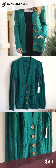 """Green Cable Knit Big Button Cardigan Brand new with tag. Big buttons. Pockets. 100% acrylic. Measurement laying flat: bust: 18"""" length: 30"""" The size said large but I think it's more like M/L. I'm true large and it's little tight on me. 42Pops Sweaters Cardigans"""