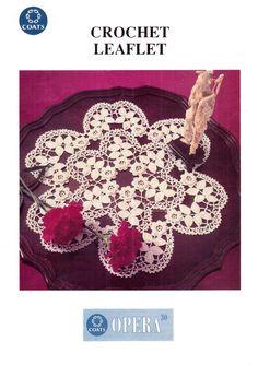 Genuine Vintage 1992 OPERA Coats Irish Crochet Rose and Foliage Shapely Large Doily Pattern Irish Crochet Patterns, Doily Patterns, Crochet Motif, Crochet Doilies, Vintage Knitting, Vintage Crochet, 3d Rose, Yarn Bombing, Vintage Crafts