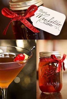 Batched Manhattans In A Jar | 24 Delicious DIY Food Gifts In Jars >> I'd be your friend forever if you gave me batched drinks in a jar for a gift!