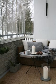 Enjoy the views of the crisp outdoors while staying cozy in your personal nook.
