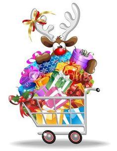 #Funny #Rudolph #Reindeer #Cartoon on #Shopping #Cart! (ツ) #Vector © bluedarkat-   http://us.fotolia.com/id/37380696/partner/200929677