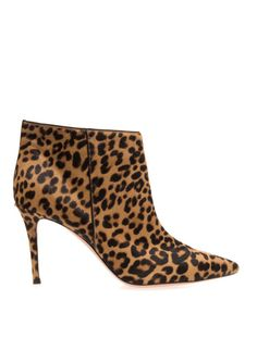 Gianvito Rossi Animal Leopardprint Calfhair Ankle Boots