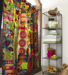 African Print Shower Curtain. There's a lot to be said for African prints and color combinations! Fabulous!