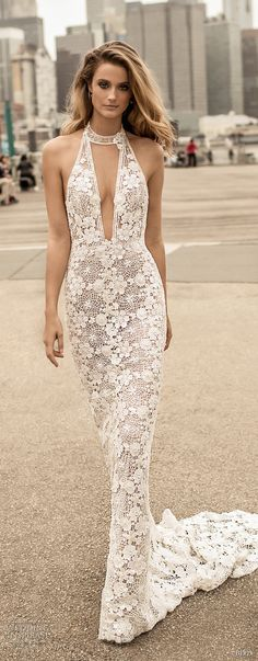 berta spring 2018 bridal sleeveless halter neck deep plunging v neck full embellishment elegant sexy sheath wedding dress open back medium train (13) mv -- Berta Spring 2018 Wedding Dresses