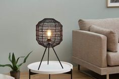 The extravagant table lamp BLACK CAGE with a lampshade made of woven paper exudes grace and elegance. Masculine Office Decor, Masculine Living Rooms, Masculine Interior, Industrial Interior Design, Industrial Interiors, Black Table Lamps, Metal Table Lamps, Loft Interiors, Loft Design