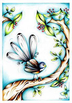 Fancy Fantail | Robyn Lamont - New Zealand Artist  Kiwiana, NZ Bird illustration