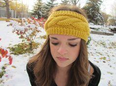 Yellow Cable Knit Headband