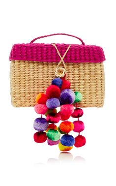 M'O Exclusive Baby Roge Straw Tote Bag With Pompoms by NANNACAY Now Available on Moda Operandi