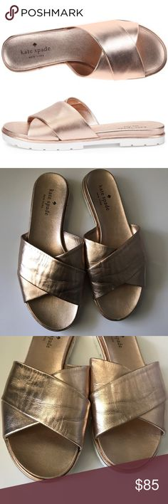 """{Kate Spade} """"Markey"""" Rose Gold Slides Gorgeous rose gold leather slides by Kate Spade. Worn twice. No visible wear to shoe, other than very slight creasing of the leather. $179 retail. { Super Fast Shipping / 15% Off Bundles / Reasonable Offers Are Welcome, But Lowballing Makes Me Sad } kate spade Shoes Sandals"""