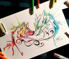 105- Dragon and Wolf by Lucky978.deviantart.com on @DeviantArt