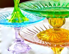 Cake Stand-cake stands-glass cake stand -  6- 8 inch colorful cupcake stands-wedding cake pedestals--cake pedestals-cupcake stand