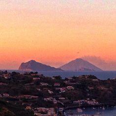 #lipari #panarea #stromboli #sunset  #aeolianislands #davideguglielmino Stromboli, Mount Rainier, Islands, River, Mountains, Sunset, Nature, Outdoor, Outdoors