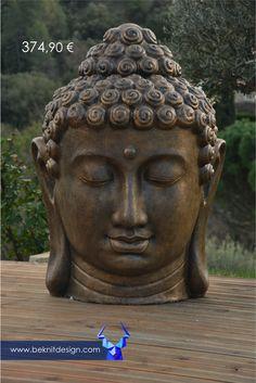 Une envie de déco pour votre terrasse ou votre piscine avec les beaux jours qui arrivent #Bouddha #Statut #Design #Resine Tête de Bouddha 1m résine Seulement - 374.99€ - Sur  www.beknitdesign.com http://urlz.fr/3smO