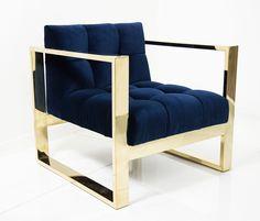 Brass Kube Chair in Navy Velvet
