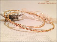 This pretty and simple pair of wedding crowns would be a wonderful addition to your bridal ivory attire. Perfect for All Season weddings with Wedding Crowns, Ivory, Greek Wedding, Pairs, Bridal, Trending Outfits, Unique Jewelry, Bracelets, Handmade Gifts