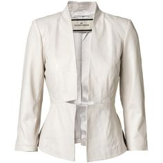 By Malene Birger Juliesse leather jacket ($245) ❤ liked on Polyvore featuring outerwear, jackets, blazers, coats, white, leather blazers, white blazer jacket, white leather blazer, real leather jackets and blazer jacket