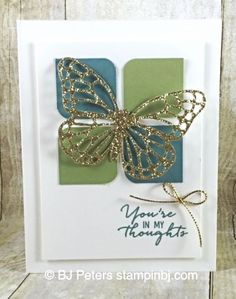 Simple & beautiful. Showcasing Butterflies Thinlit in Gold Glimmer paper from Stampin' Up! http://www.stampinbj.com/2015/11/watercolor-wishes-butterfly-simple.html
