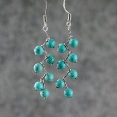 Turquoiae zigzag dangle Earrings handmade by AniDesignsllc on Etsy, $12.95