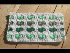 Crochet point coeur en relief. corazones en relieve crochet