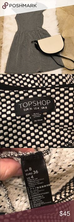Topshop Black and White Polka Dot Dress Great condition, super comfortable, and oh so cute! Topshop Dresses Mini