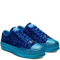 e2df230cd Converse x Miley Cyrus Chuck Taylor All Star Low Top Velvet Gnarly  Blue Blue