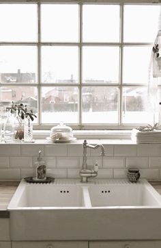 Great Combo... Farm Sink, Subway Tile And Industrial Window. White On