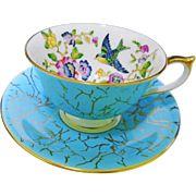 Aynsley blue bird teacup duo