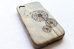 wood iphone 4s case, walnut dandelion