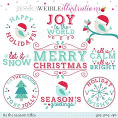 Tis The Season Titles Digital Graphics - JW Illustrations
