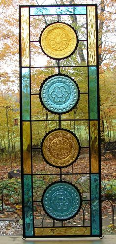 Flower stained glass plate panel teal by Barbarasstainedglass
