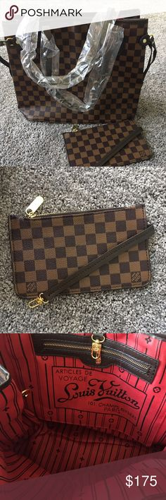 Brown checkered tote medium Medium size designer inspired neverfull tote bag! Brand new comes with small pouch that hooks to bag!! Bags Totes