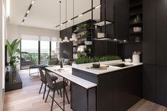 KANDO: Interior Design, Interior Architecture in Warsaw [PL] & Worldwide Exterior Design, Interior And Exterior, Loft, Black Kitchens, Herringbone Pattern, Warsaw, White Cabinets, Best Interior, Interior Architecture