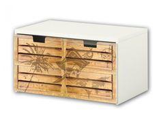 Verschönere Deine IKEA STUVA Banktruhe in wenigen Minuten mit einer tollen Pirate Style Möbelfolie. Coole Holzoptik im Used Look!