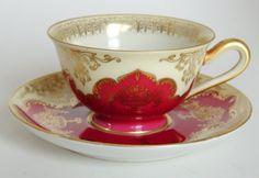 Vintage Tirschenreuth Bavaria Demi Tasse Tea Cup and Saucer Burgundy