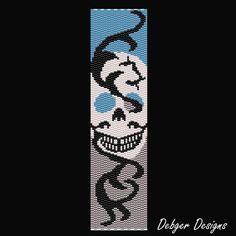 Lightening Skull Beaded Peyote Bracelet Cuff by FUNPATTERNDESIGNS