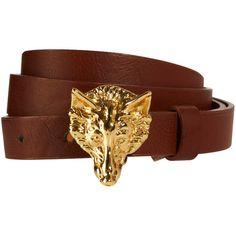 Asos Fox Buckle Skinny Waist Belt ($18) ❤ liked on Polyvore