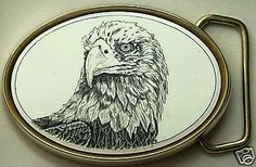 Belt Buckle Barlow Scrimshaw Carved Painted Art Traditional Eagle Head 590142