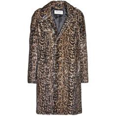 Saint Laurent Leopard-Print Marmot Fur Coat (€19.575) ❤ liked on Polyvore featuring outerwear, coats, fur, jackets, saint laurent, brown, yves saint laurent, leopard fur coat, fur coat and leopard print coat