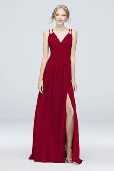 ae045e391bc Plunging V-Neck Crinkle Chiffon Bridesmaid Dress