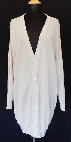 MAISON MARTIN MARGIELA Light Beige Wool Cardigan Sweater with Split Sleeves  1 M #MaisonMartinMargiela #Cardigan
